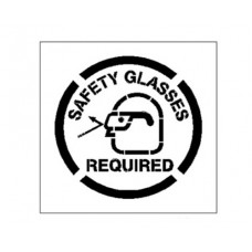 20 Inch SAFETY GLASSES REQUIRED Stencil