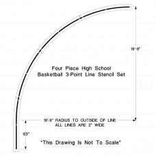 High School Basketball 3-point Line Stencil
