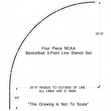 NCAA Basketball 3-point Line Stencil
